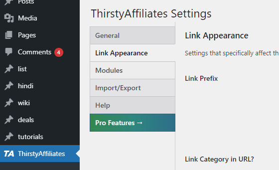 thristy affiliate settings